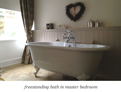 freestanding bath in master bedroom